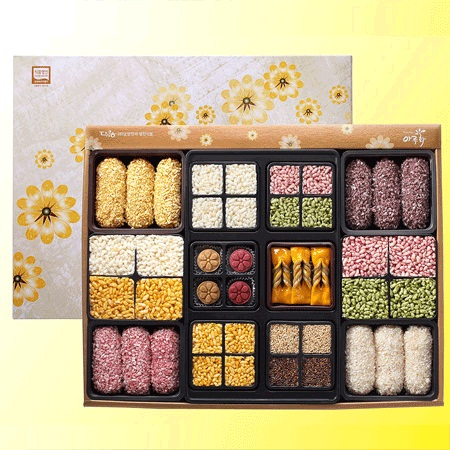 Korean Korean Cookies No.2 1.124kg Oil-and-Honey pastry(Sweet pumpkin+Blackrice)+Glutinous rice Deep-fried Honey Cookie+Taffy De