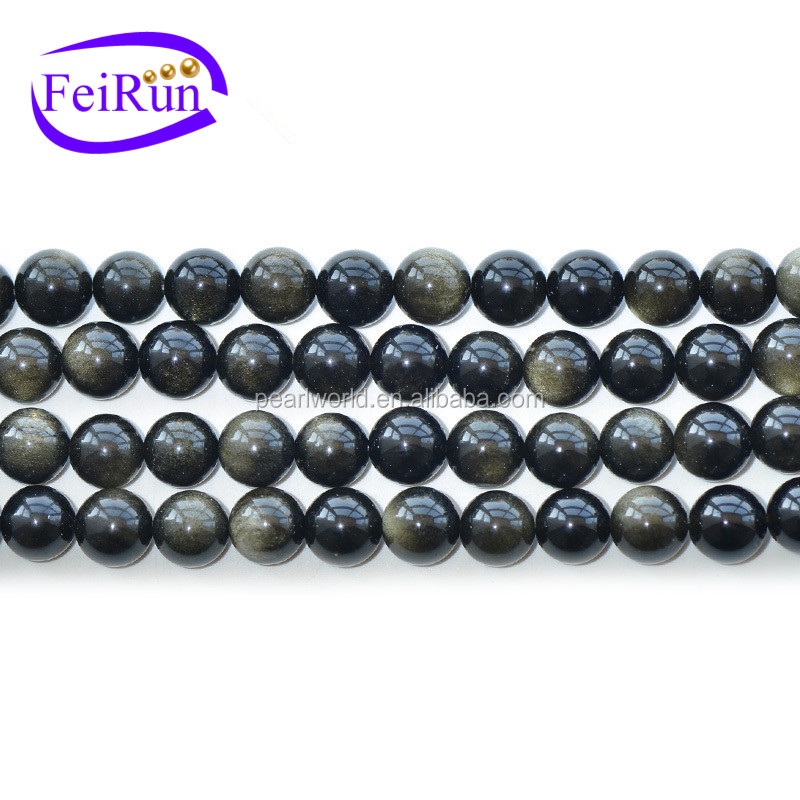 4-20mm black color nice black obsidian beads, stone obsidian