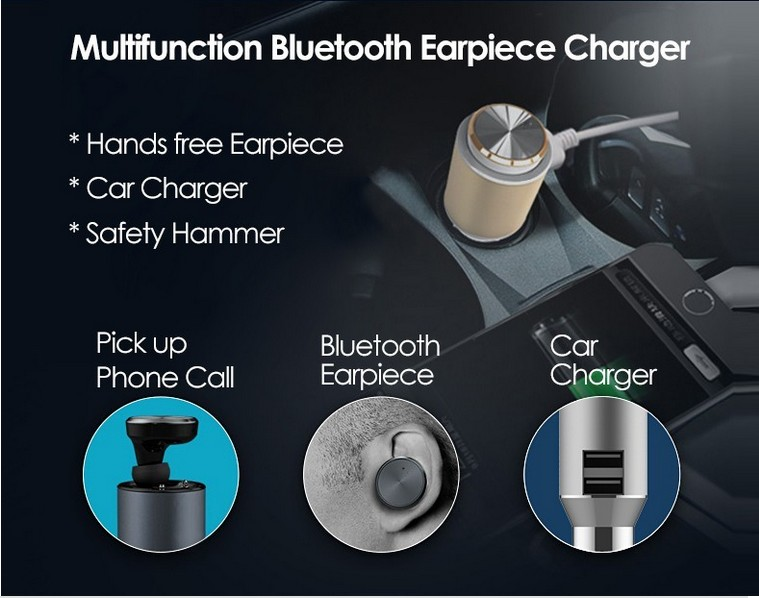 Dual USB ports qucik charge 2.4A Bluetooth Car Kit multi function charger