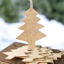 Wooden Hanging christmas tree ornaments in real tree shaped
