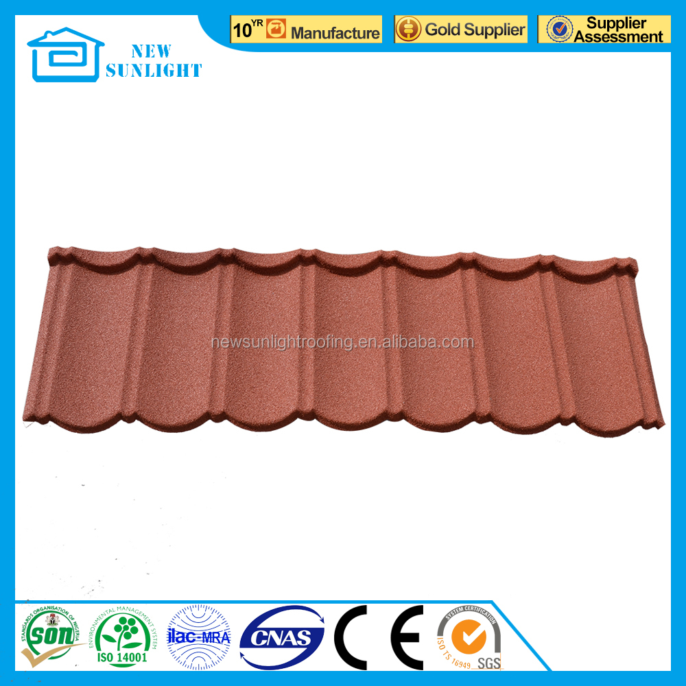 Spanish Red Color Roofing Tile for Villa / Stone Coated Roof Sheet / Metal Building Material Price