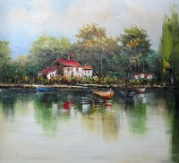 Modern Chinese town scenery painting pictures