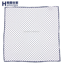 High Quality Men Handkerchief Dot Print Hand Rolled Silk Pocket Squares
