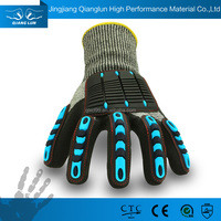 QLSAFETY HPPE drilling oil rubber coated hand gloves