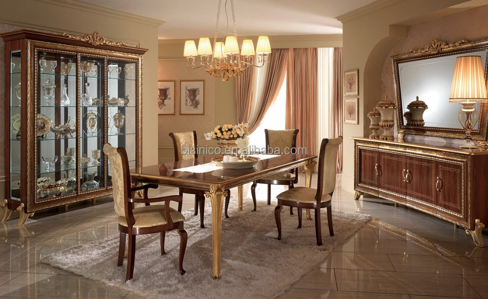 italian style solid wood golden and wood color dining room furniture