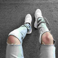TP103 Wholesale Mens Light Blue Ripped Skinny Distressed Destroyed Slim Jeans with Holes