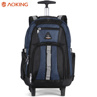 Aoking classic design high capacity mochilas escolares con ruedas durable trolley backpack with wheels