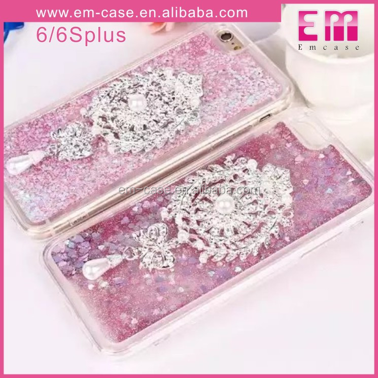 3D Pearl Crystal Brooch Luxury Diamond Bling Liquid Case For Iphone 6