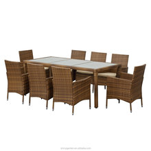 Rattan Outdoor Patio Dinning Table Chair Set Cushioned Garden Furniture Set (KD)