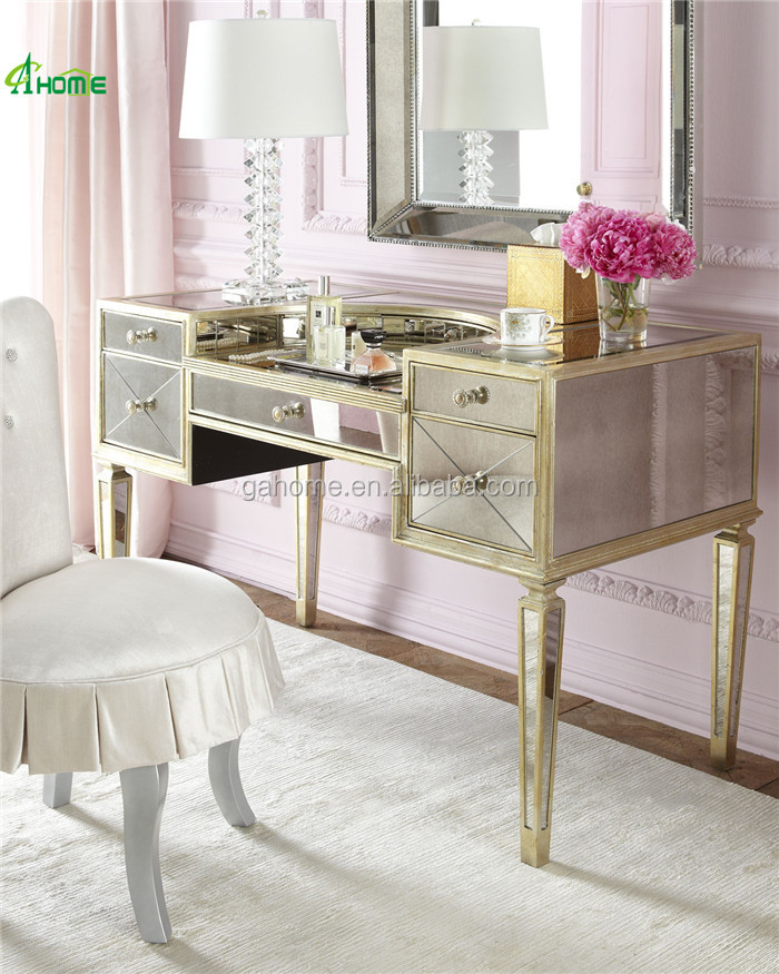 2015 hot sale modern luxury golden dressing table mirrored furniture
