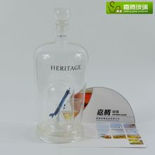 Promotional 500ml-1500ml creative hand blown clear glass bottle with horse deer bird fly shaped, wine bottle