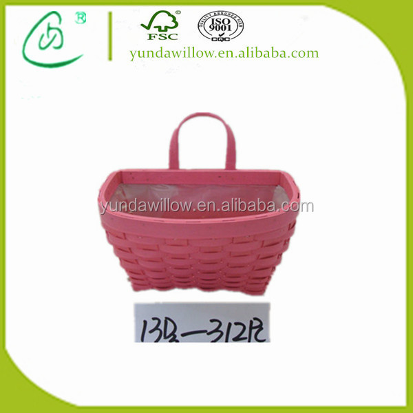 Pink Wicker Wood Chip Wall Hanging Flower Basket with Handle