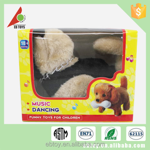 Large kids soft toy animal electric barking plush dog with lamp
