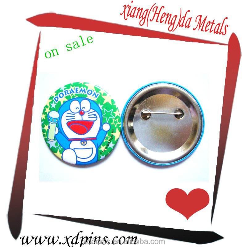 Hot selling Full color printing Doraemon logo Round shaped badge