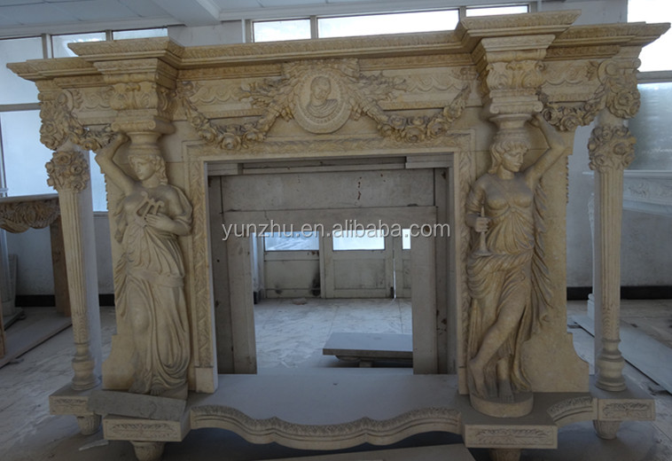 Natural Stone European Style Home Decoration Carving Marble Fireplace