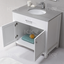 Wall-Mounted Modern Style Solid Wood Cabinet Wish Stone Sink