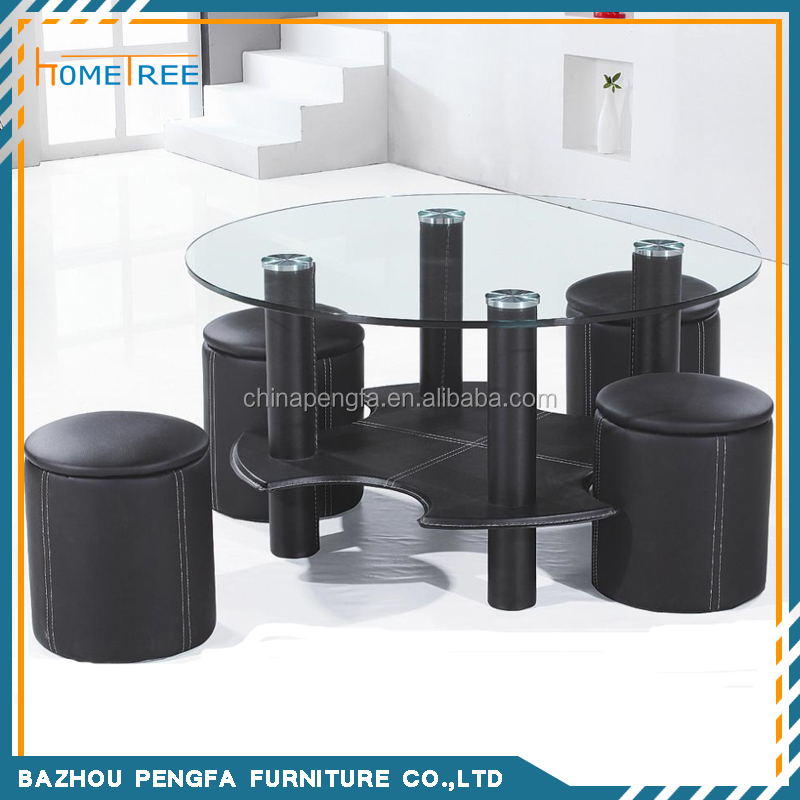 Hot sale round glass coffee table set, small tea table