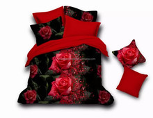 3d printed bedding set red rose