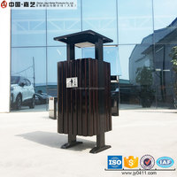 Garden customized size exquisite 50L wooden recycling public metal box