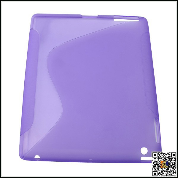 "Transparent Jelly TPU soft ""S"" design Glossy Flexible case for ipad 3 matte case"