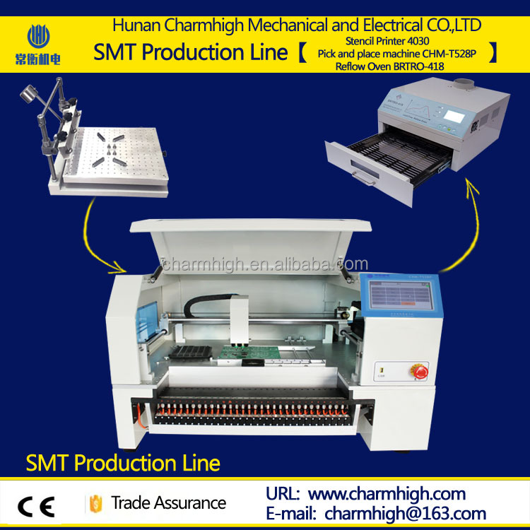 SMT production line: 2 heads Advanced SMT Chip Mounter with Yamaha pneumatic feeder +Stencil printer +reflow oven