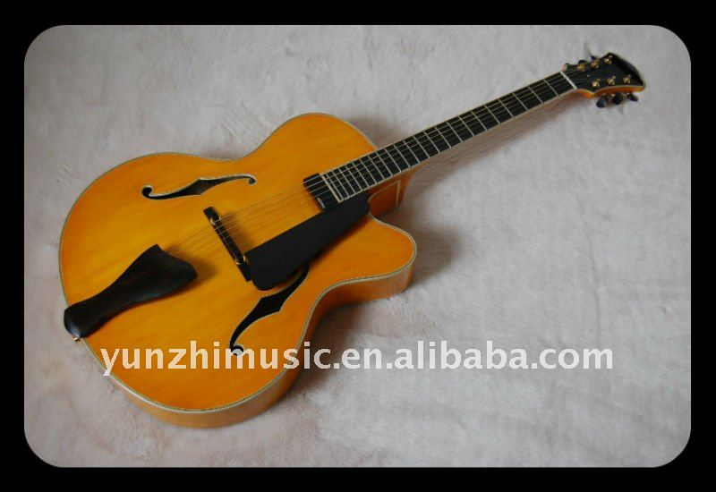 custom fully handmade solid maple wood archtop electric guitar