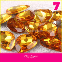 Top Quality Without hole LT.Topaz Color Water Drop Crystal Design Glass Stone Design For Dress