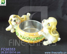 Resin dogs figurine pet feeder with stainless steel bowl