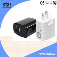 3.1 Amp 15.5W Dual USB Wall Charger flip down Plug Designed for Apple , Android Devices