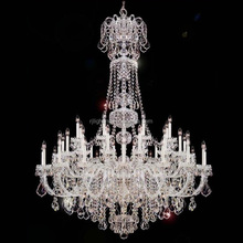 Large Bohemian Crystal Chandelier Lighting Wedding Banquet Hall, Customized Big Silver Crystal Chandelier Candle Light