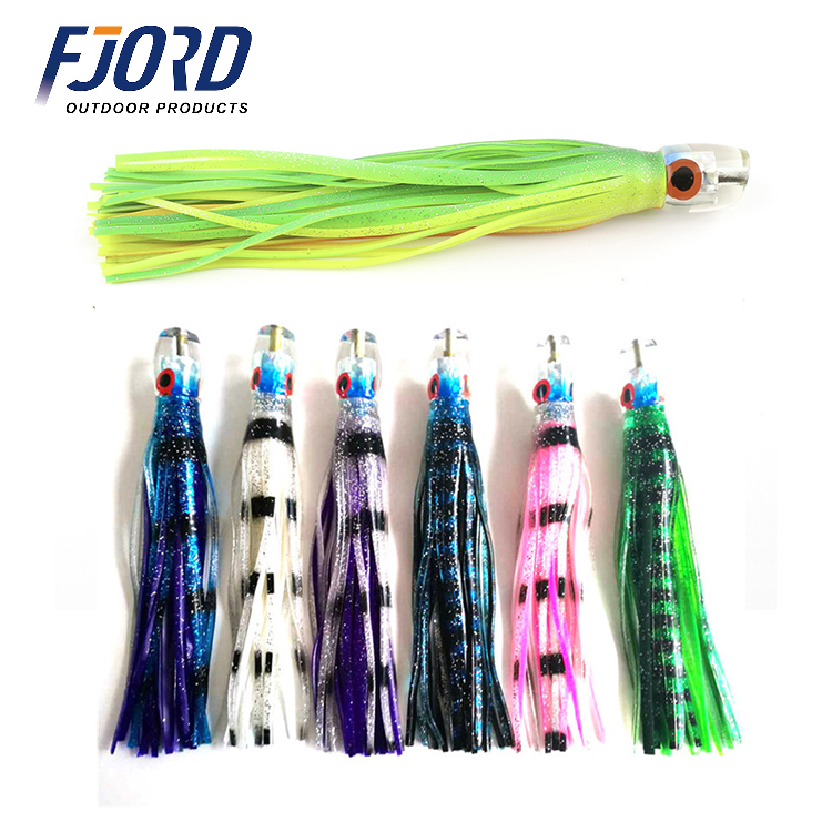 FJORD 9inch Trolling Fishing Double Octopus Skirts Tuna Marlin Resin Jet Head Lure for Sea Fishing Big Game