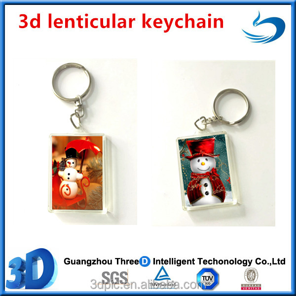 Christmas Gift 3D Lenticular Keychian Custom Promotional Key Ring