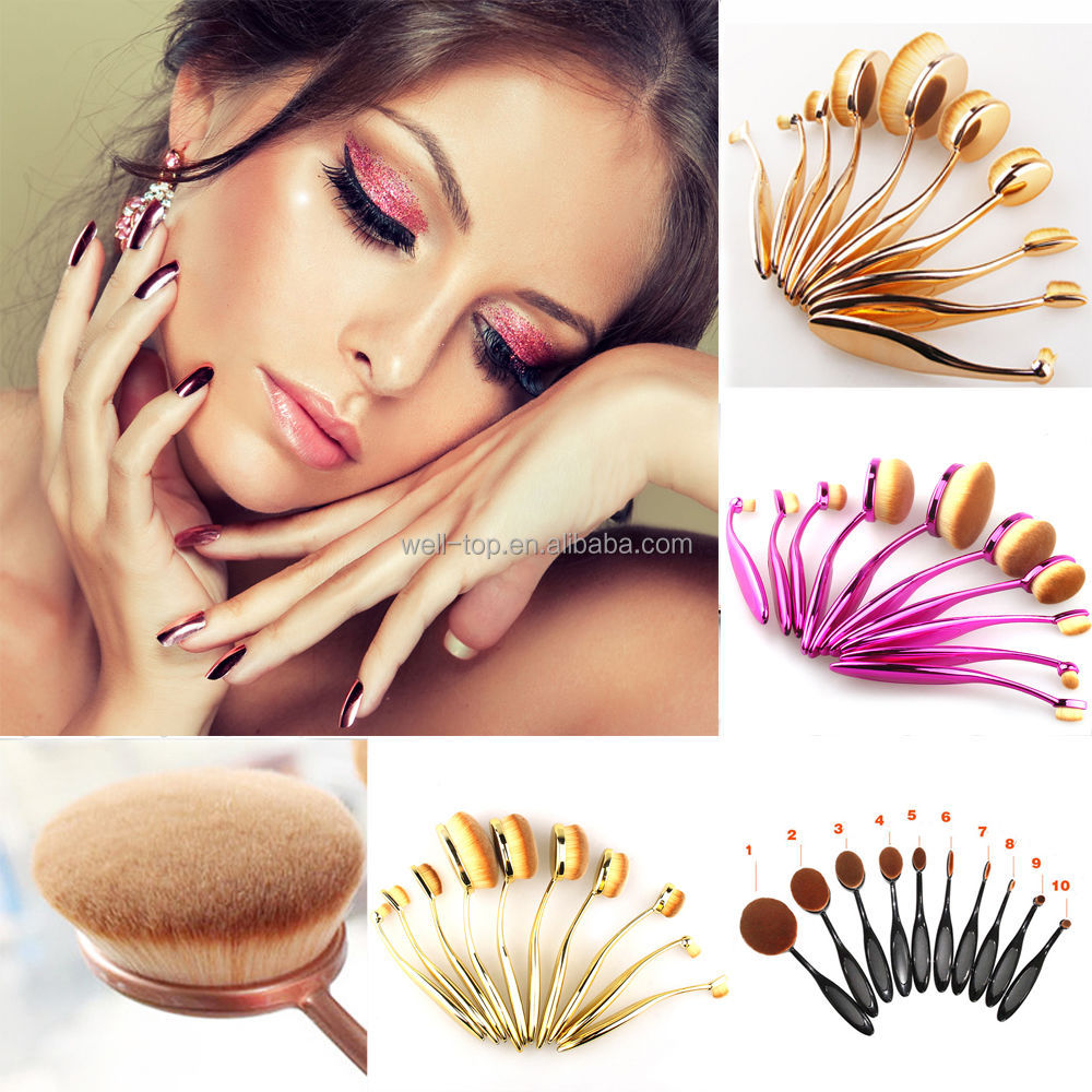2016 Best Selling Product Black Handle Professional 10pcs Cosmetic Brushes Set Oval Rose Teethbrush Brushes Makeup