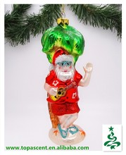 swinging but cheapest handblown hanging glass christmas ornament from direct factory-santa playing guita under coconut tree