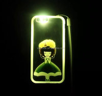 for iPhone 6 6S LED Flash Light Luminous Cartoon Girl Strap Case Cover
