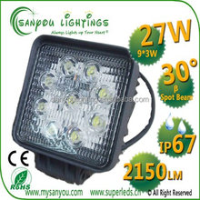 Good Heat Dissipation new 27w car led tuning light led led work lights for trucks