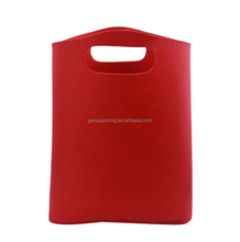 Custom Made Vertical Type Plain Red 2mm Felt Gift Bag With Die Cut Handle