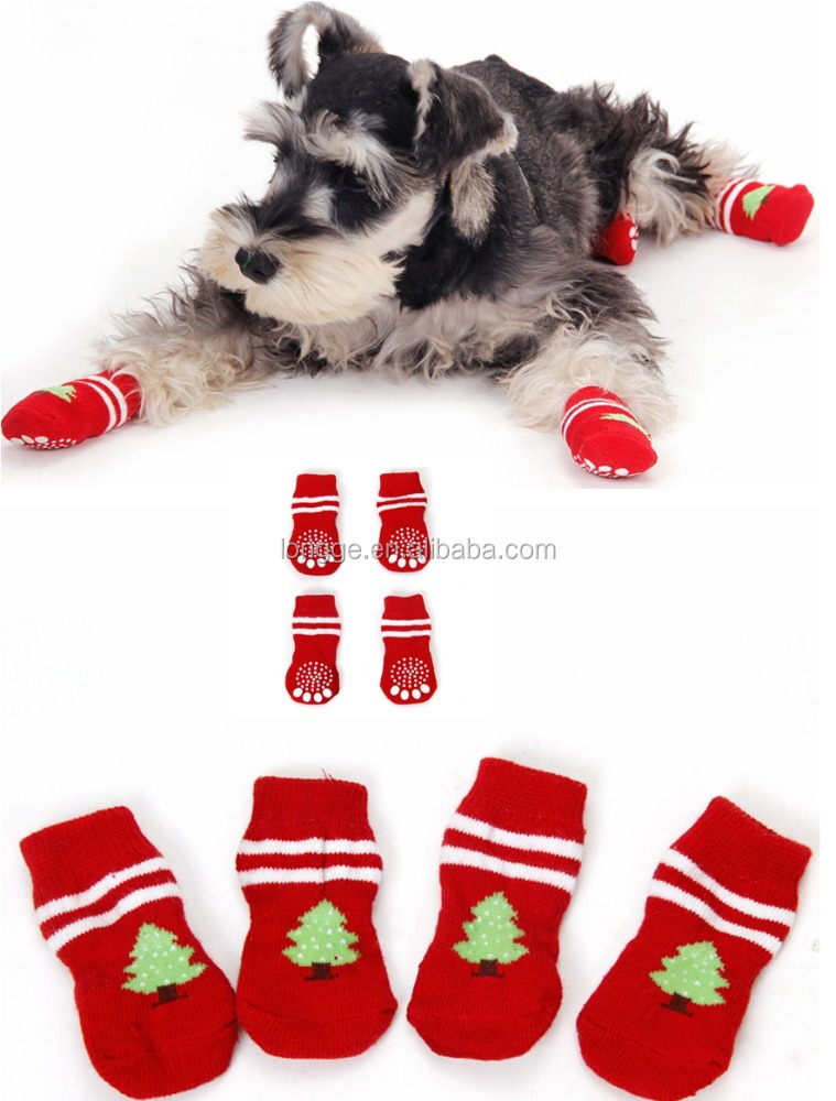 Pet Dog Christmas Sock Tree Cat Warm 4 Pcs Winter Festival Puppy Soft Cute-Red Pet Dog Christmas Socks