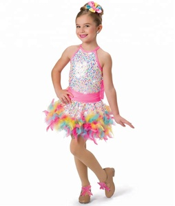 Hot for new ballet tutu colorful jazz dance costume fluffy ttu skirt for girls