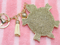 Tassels Hot Drilling Key Chain Turtle Shape Rhinestone Key Ring Women Bags Accessories Hanging Drop Car Hanging