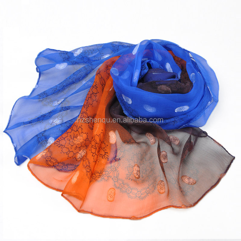 Fashion Colour Matching Iridescence Gradually Varied Ornamental Chiffon Voile Cappa Silk Scarf