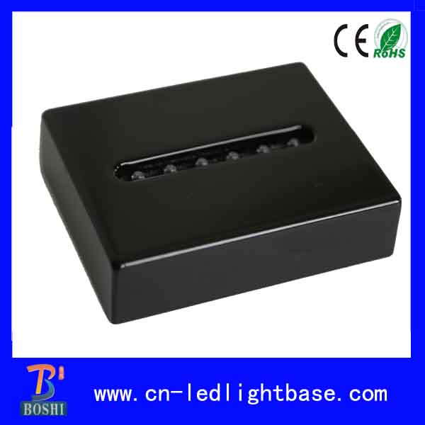 Battery powered shiny black wood led light base for crystals