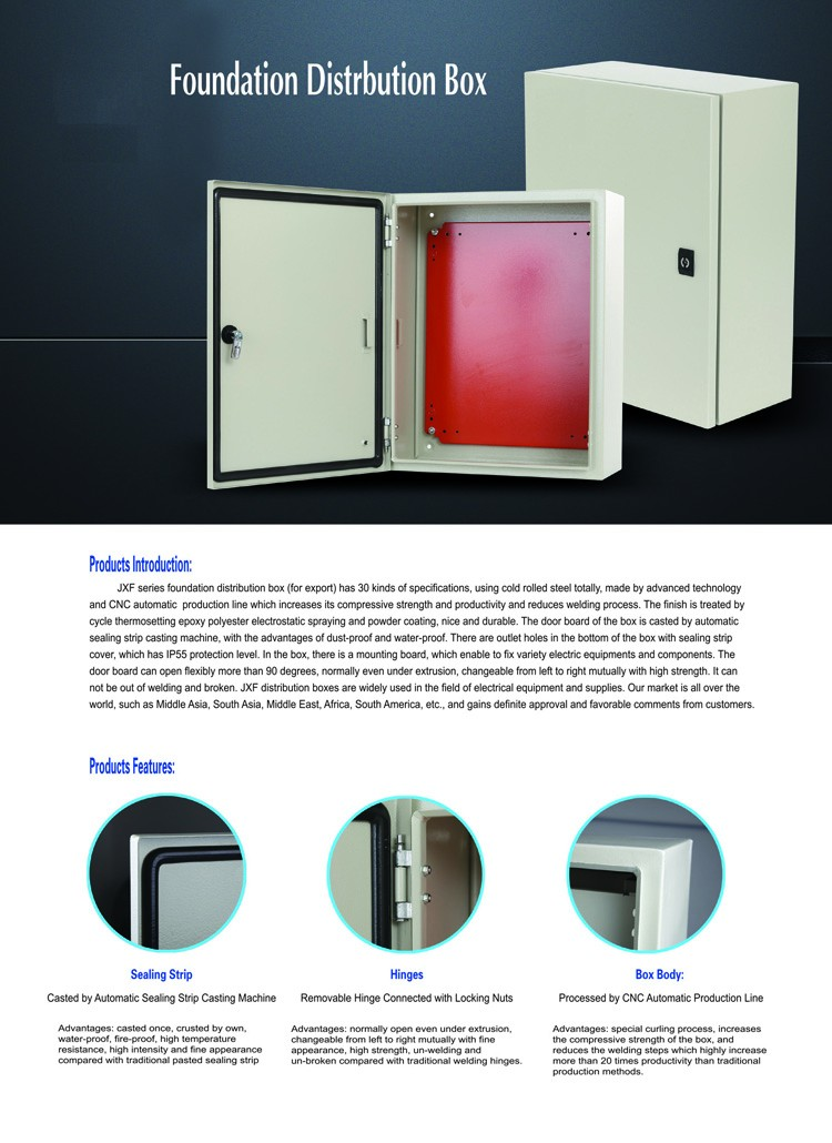 IP65 Cold Roll Steel Distribution Box Factory, Metal Cabinet Box, Waterproof Electric Distribution Box RAL7035