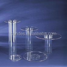 Clear Acrylic Single Tier Tube Cake Stand Birthday Party Cupcake Display Stand