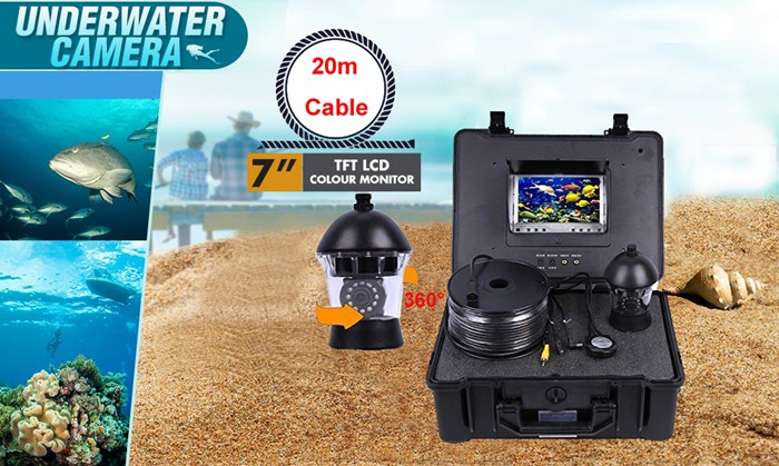 Waterproof shockproof plastic underwater camera with 20m cable