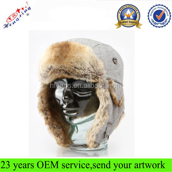 Russian style Earflap Winter Custom Faux Fur Trapper Hat