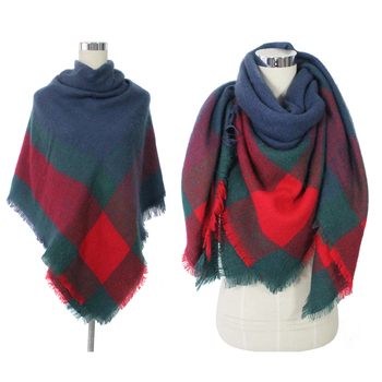 China Fashion Accessories Wholesale Winter Shawl Cashmere Plaid Blanket Scarf