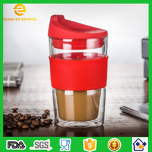 350ml Factory Promotional Borosilicate Glass Double Wall Heat Resistant Coffee Cup With Silicone Lid and Heat Insulation Sleeve