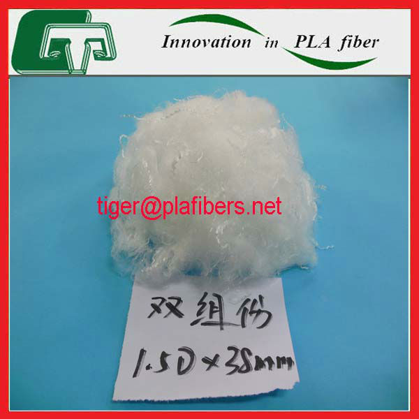 PLA bicomponent fiber for thermal filling material