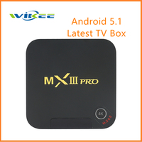 Customized Android 5.1 MXIII Pro Smart TV Box Amlogic S905 KODI Loaded 4K 3D Blu ray Media Player with 1G RAM 8G ROM